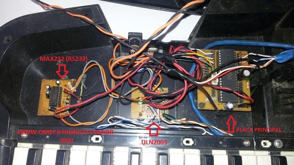 Vista interna teclado MIDI