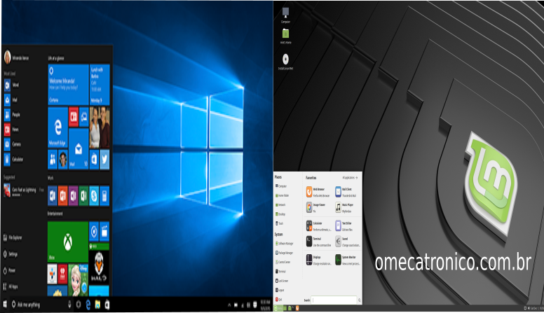 Figura Windows 10 vs Linux Mint 19.1 MATE.